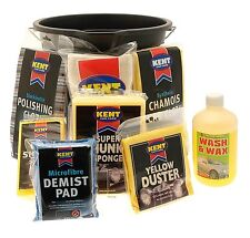 Kent Car Care Cleaning Valet Pack in Bucket - Wash Gift Set Kit - Shampoo Sponge