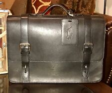 Ralph Lauren Gentleman's 100% Pure Leather Business Briefcase Bag Polo Black