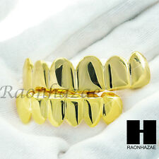 NEW CUSTOM 14K GOLD PLATED TEETH GRILLZ SET CAPS TOP & BOTTOM HIP HOP TEETH SET