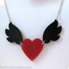 Acrylic Red Heart with Black Wings Necklace - NEW Unique Fly Love Soaring