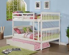 Full Bunk Beds in White with Trundle