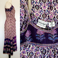 VINTAGE  HIPPIE DRESS AUTHENTIC 1970S INDIAN COTTON GAUZE MIDI MAXI DRESS XS S