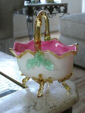 Victorian Antique Art Glass Webb or Stevens and Williams Footed Basket