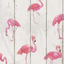Rasch Becker Wood Panel Pattern Wallpaper Faux Effect Flamingo Bird Motif Roll