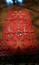15x34'' Embroidered Christmas Tablecloth Cutwork Table Runner Home Party Decor