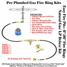 "FR12K++ 12"" Fire Ring Complete Deluxe Pre Plumbed Gas Fire Pit Kit 316 Stainless"