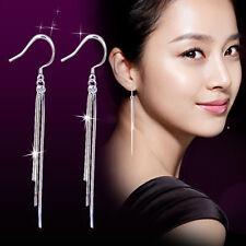 Womens 925 Sterling Silver Tassel long Ear Chain/Link Drop/Dangle Hook Earrings