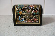 Small hand painted oil & 24 karat gold on black lacquered wood trunk