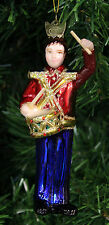 KURT ADLER NOBLE GEMS RED & BLUE GLASS DRUMMER BOY TOY SOLDIER XMAS ORNAMENT