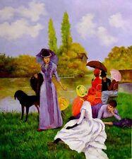 """Francisco Miralles- Elegantes Pres de la Riviere  Replica Oil Painting - 30""""x40"""""""