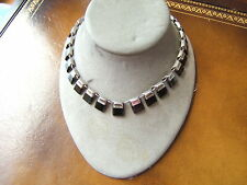 VINTAGE MEXICO MEXICAN STERLING SILVER & BLACK ONYX NECKLACE BEAUTIFUL WELL MADE