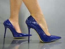 MADE IN ITALY SEXY LUXUS HEELS POINTY PUMPS SCHUHE LEATHER DECOLTE BLAU BLUE 36
