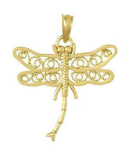 New 14k Gold Yellow Dragonfly Pendant