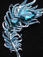 "SILVER GREEN TEAL RHINESTONE BIRD PEACOCK FEATHER PIN BROOCH JEWELRY 3.75"" 3D"