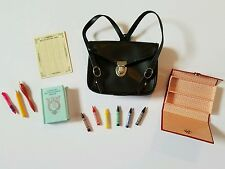 13pc American Girl Kit Kittredge Leather School Bag Accessories Lot Crayons