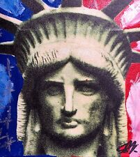 """STEVE KAUFMAN """"FACE OF LIBERTY"""" GICLEE ON CANVAS WITH HAND PAINTED ELEMENTS"""