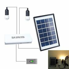 Weanas Solar Panel LED Light Bulb Home System Kit+Rechargable Battery Power Bank