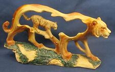 Tiger Wood like Carving Animal Figurine Nature  Scene Resin Home Decor