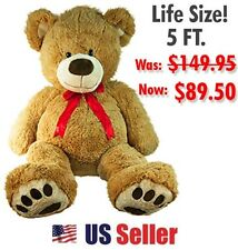 Giant Plush Teddy Bear Brown Huge Jumbo Soft Stuffed Animal Valentines Gift 5ft