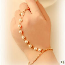 Great Pearl Bracelet Bangle Slave Gold Chain Link Finger Ring Hand Harness Chic