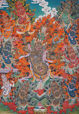 "50"" EMBROIDERED BROCADE SCROLL THANGKA:RAHULA BODY FULL OF EYES! WRATHFUL DEITY"