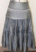 Nougat London Boho Gray 100% Silk Full Balloon Skirt 28 In Sz 2 Pleated Summer