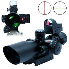 Stock 2.5-10X40 Rifle Scope w/Red Laser With Mini Reflex 3 MOA Red Dot Sight Set