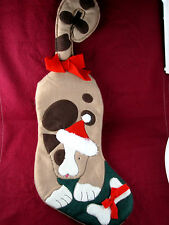 Cute Brown Dog Christmas Pet Stocking w/ Tail hook Plush lined Felt EX 22 inch