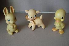 3 Vintage Rubber Rempel MFG. Co. Toys: Lamb, Rabbit , Duck  Rempel