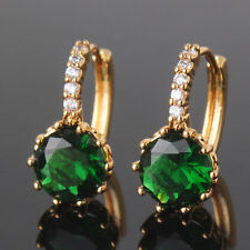 Luxury woman wedding 24k Yellow gold filled emerald HOT SALE hoop earring
