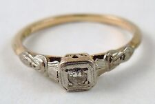 100% Genuine Vintage 18k Yellow & White gold & Platinum Solitaire Ring Sz 6.5