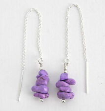 PURPLE TURQUOISE NUGGETS, STERLING SILVER Ear Thread Threaders Earrings