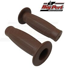 "Big Port Motorcycle Handlebar 1"" Grips Beston Type Brown Cafe Racer Retro"