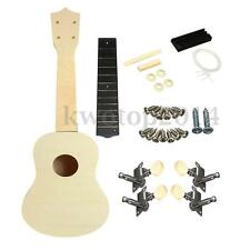 "DIY 21"" Inch Soprano Ukulele Uke Hawaii Guitar Parts White Body Unpaint W/ Bag"