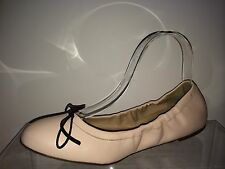 J Crew Womens Pale Pink With Black Bow  Leather Flats 8.5