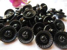 lot 12 boutons anciens en verre noir effet tissé diamètre : 1,7 cm ref 334