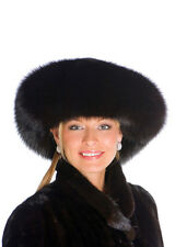 Real Fox and Mink Fur Hat for Women Large Brim Fur Hat