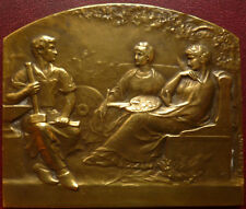 Art Deco dated 1931 pretty French gilded Bronze plaque by F. RASUMNY