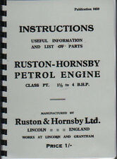Ruston-Hornsby Class PT Petrol Stationery Engine Instruction Parts Book