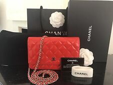 Auth CHANEL Red Patent Wallet On Chain WOC Crossbody Silver Hardware Flap Bag