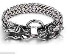 Punk Heavy Stainless Steel Silver Figaro Chain Men's Bracelet Dragon Clasp 8.26""