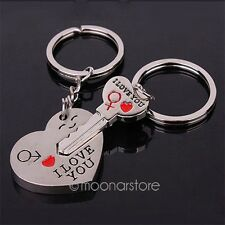 1 Set Keychain Keyring Keyfob Heart I Love You Valentine's Day Lover Couple Gift