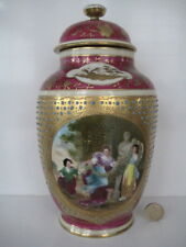 VERY RARE VINTAGE ROYAL VIENNA LARGE JEWELLED TEMPLE JAR CLASSICAL SCENE SIGNED
