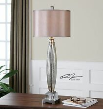 """TALL 37"""" BRUSHED NICKEL & MERCURY GLASS TABLE LAMP SILKEN SHADE CRYSTAL ACCENTS"""