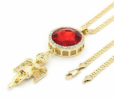 """Mens Gold Plated Iced Out Red Cz Oval Angel Pendant Hip-Hop 24"""" Gucci Chain"""