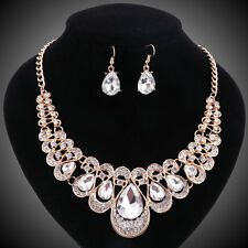 Gold Plated Crystal Drop Clear Gem Bridal Necklace Earring Party Jewelry Sets