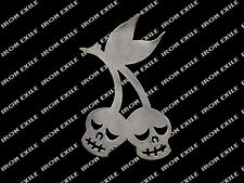 Cherry Skulls Metal cut out Gothic Punk Rockabilly Grunge Rat Rod Chopper Emblem