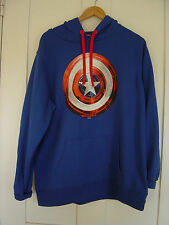 "UNISEX  ""MARVEL"" CAPTIN AMERICA HOODED SWEATSHIRT  BLUE SIZE XL CHEST 46 / 48"