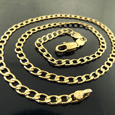 FSA489 GENUINE REAL 18K YELLOW GF GOLD CLASSIC CURB LINK PENDANT NECKLACE CHAIN