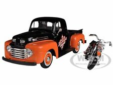 1948 FORD F-1 WITH 1958 FLH DUO GLIDE HARLEY DAVIDSON OR/BK 1/24 BY MAISTO 32180